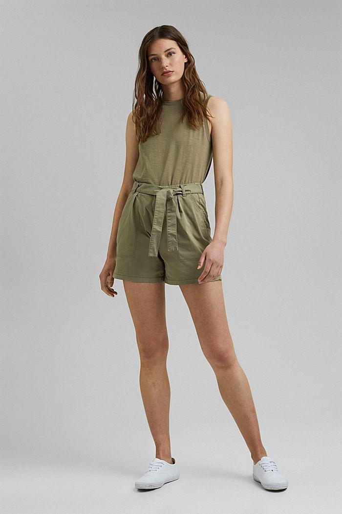 High-Rise-Shorts mit Gürtel, LIGHT KHAKI, detail image number 1