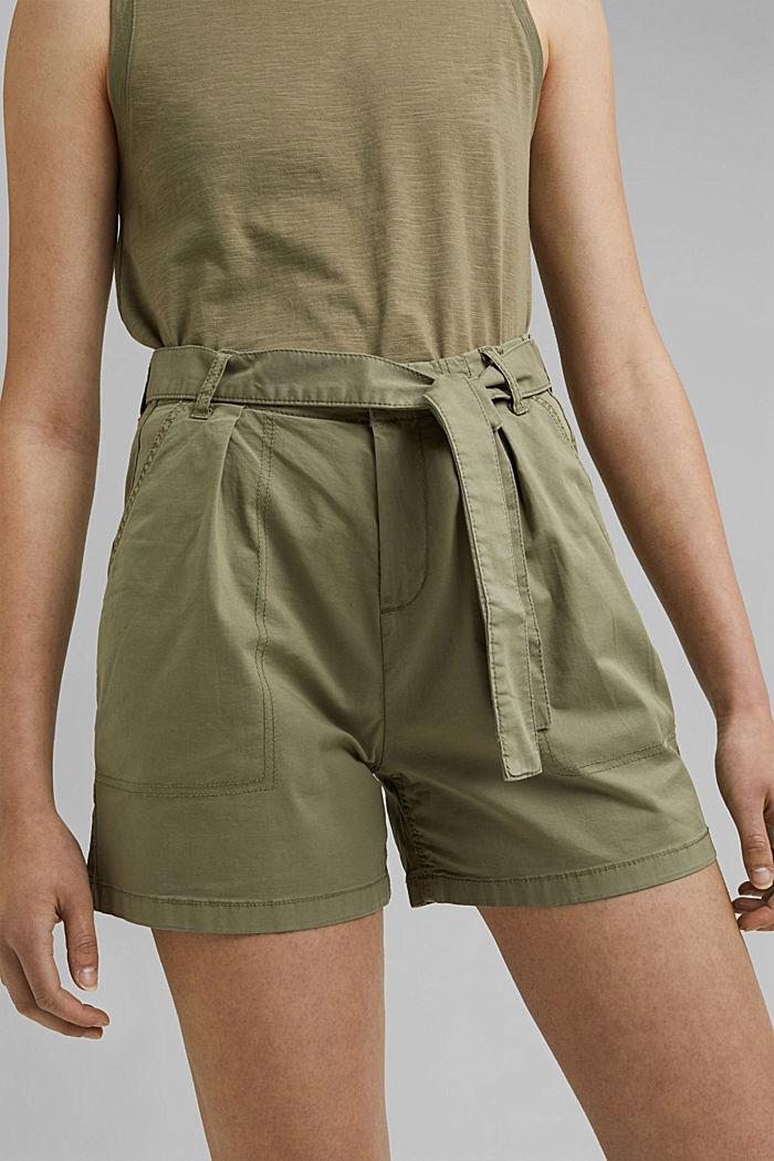 High-Rise-Shorts mit Gürtel, LIGHT KHAKI, detail image number 2