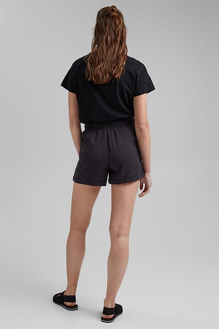 TENCELIÄ™: shortsit, joissa kiristysnauhavyötärö, BLACK, detail image number 3