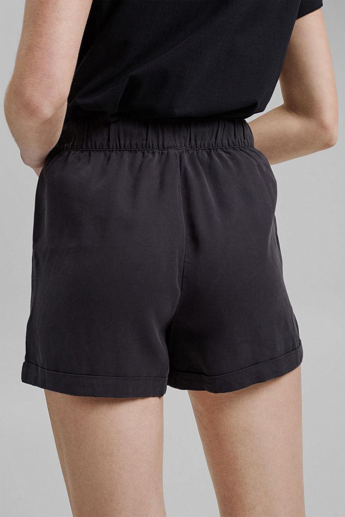 TENCELIÄ™: shortsit, joissa kiristysnauhavyötärö, BLACK, detail image number 5