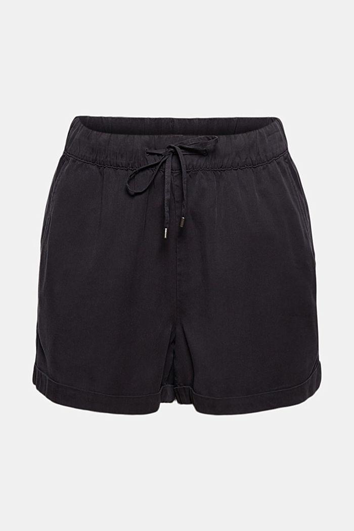 TENCELIÄ™: shortsit, joissa kiristysnauhavyötärö, BLACK, detail image number 8