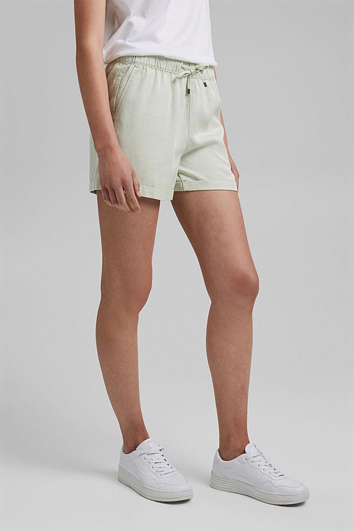 Aus TENCEL™: Shorts mit Kordelzugbund, PASTEL GREEN, detail image number 0