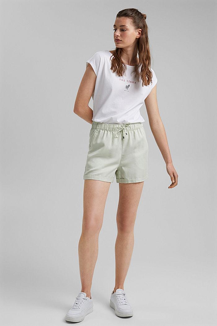 Aus TENCEL™: Shorts mit Kordelzugbund, PASTEL GREEN, detail image number 1