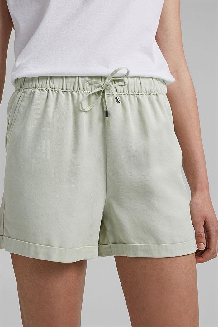 Aus TENCEL™: Shorts mit Kordelzugbund, PASTEL GREEN, detail image number 7