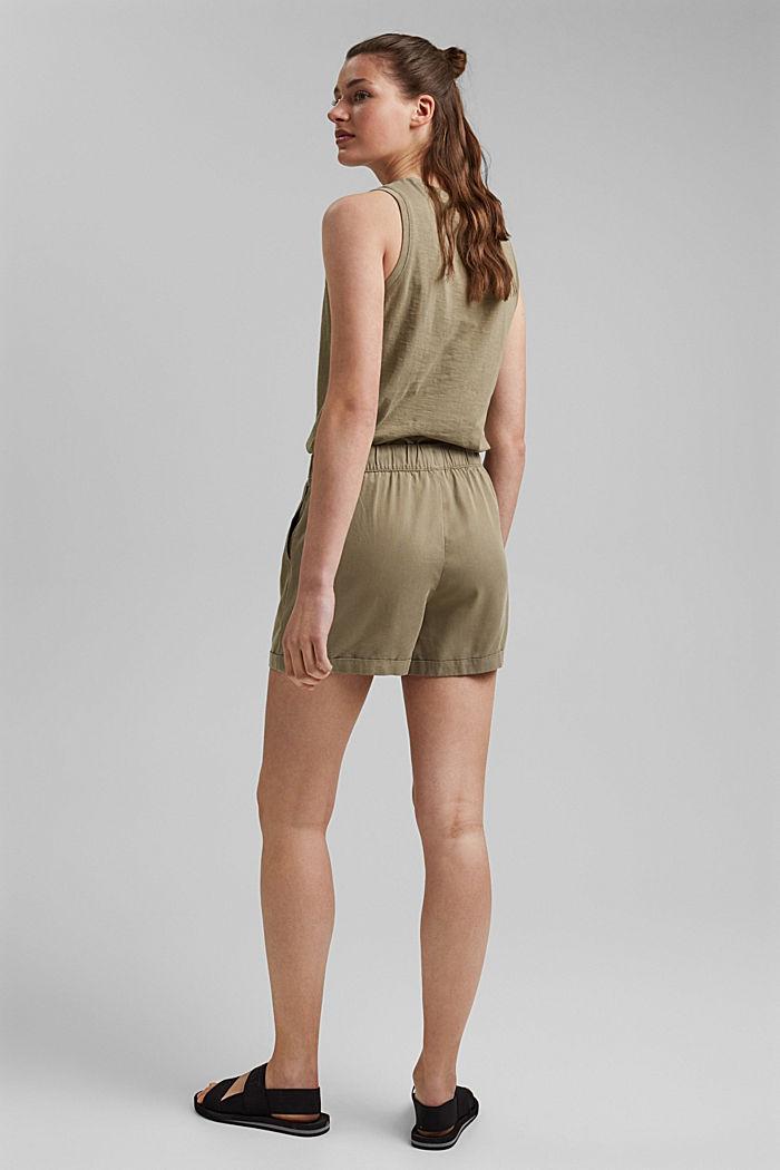 Aus TENCEL™: Shorts mit Kordelzugbund, LIGHT KHAKI, detail image number 3