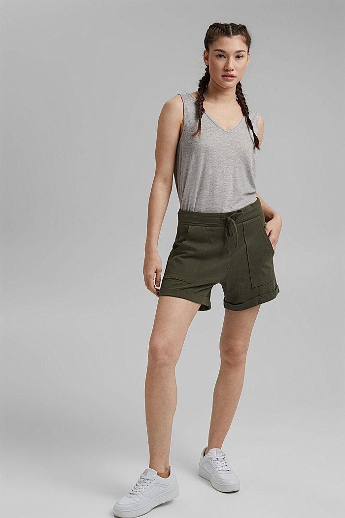 Jerseyshorts aus 100% Bio-Baumwolle, KHAKI GREEN, detail image number 1