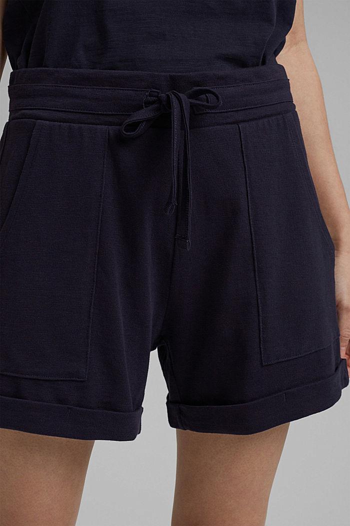 Jersey short van 100% biologisch katoen, NAVY, detail image number 2