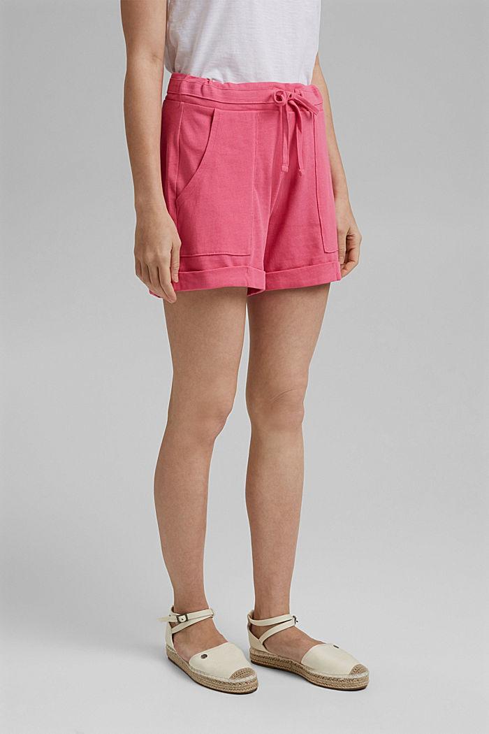 Jersey short van 100% biologisch katoen, PINK FUCHSIA, detail image number 0