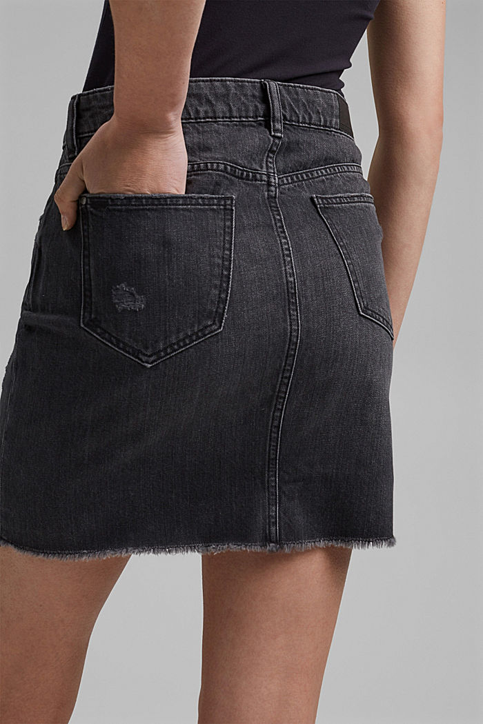 Jeans-Rock mit Used-Details, 100% Bio-Baumwolle, BLACK DARK WASHED, detail image number 2