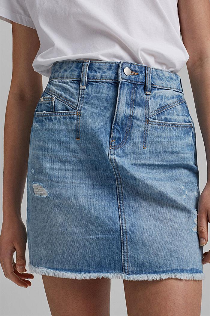Džínová sukně s obnošenými detaily, 100% bio bavlna, BLUE LIGHT WASHED, detail image number 2