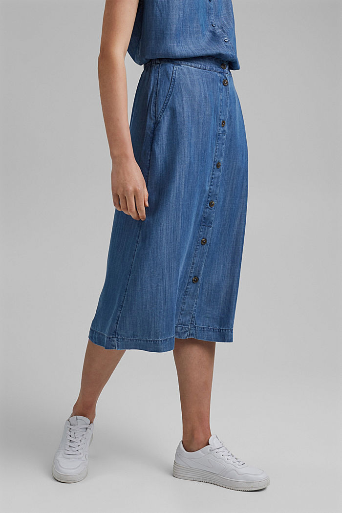 Made of TENCEL™: midi skirt in a denim look, BLUE MEDIUM WASHED, detail image number 0