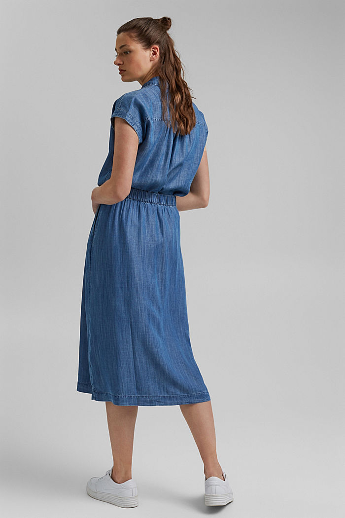 Made of TENCEL™: midi skirt in a denim look, BLUE MEDIUM WASHED, detail image number 3