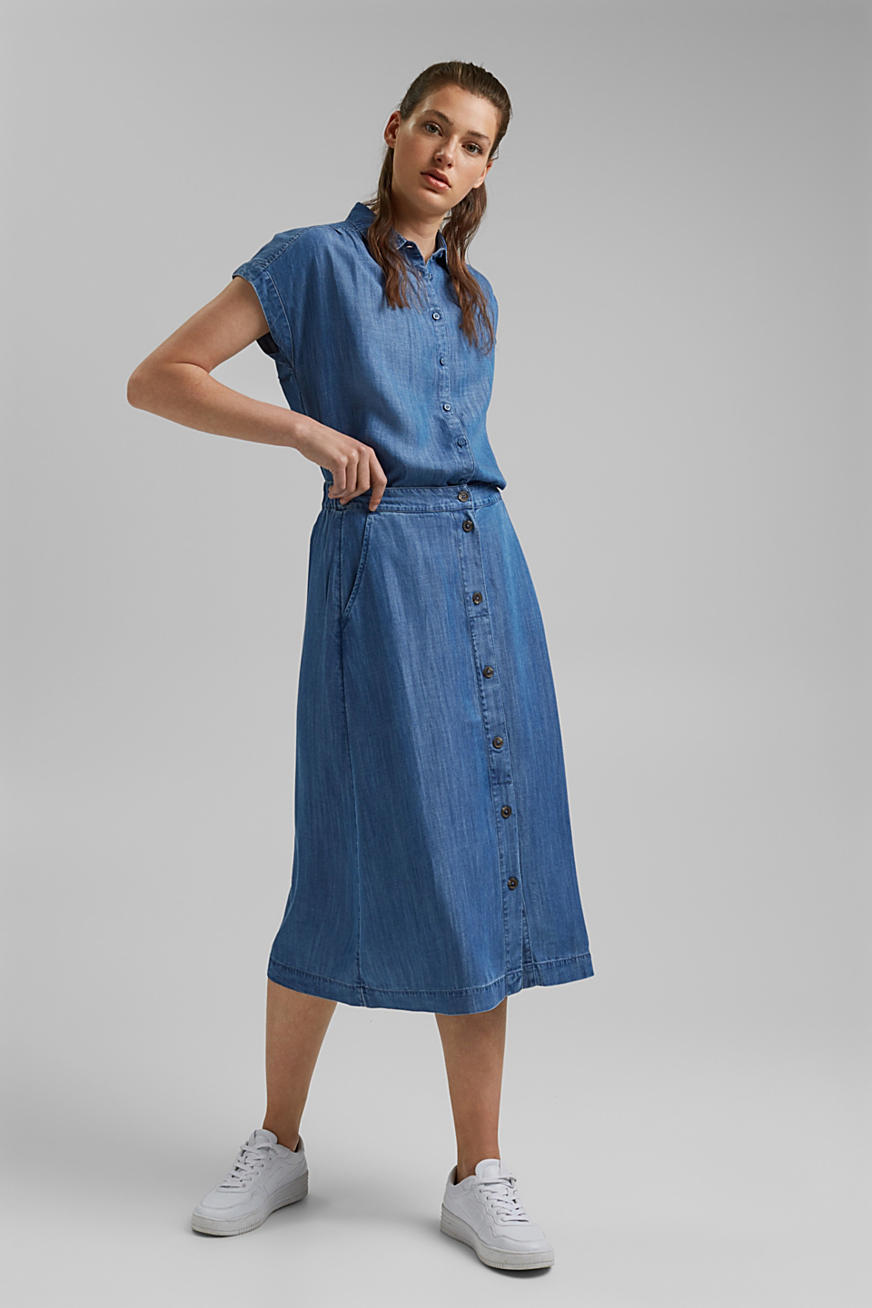 Van TENCEL™: midirok met denim look
