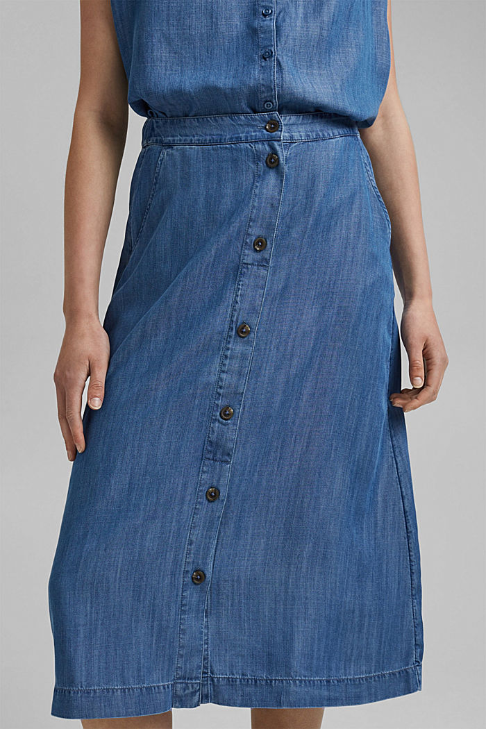Made of TENCEL™: midi skirt in a denim look, BLUE MEDIUM WASHED, detail image number 2