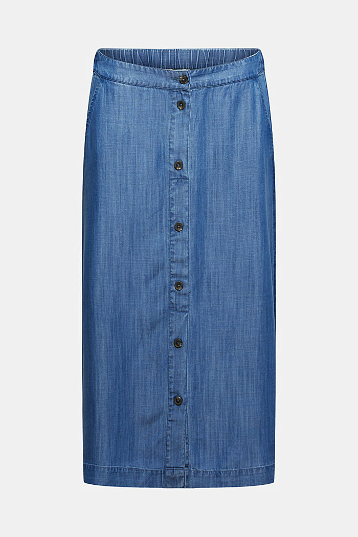 Made of TENCEL™: midi skirt in a denim look