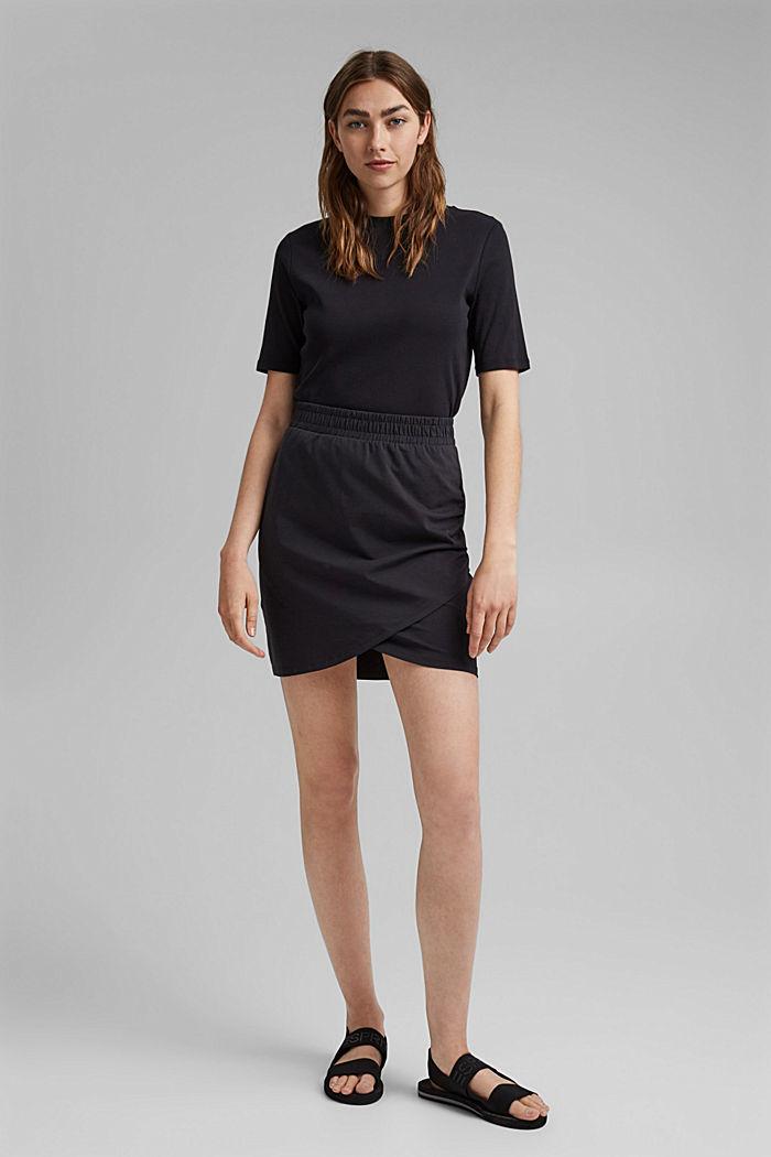 Jersey-Minirock, Organic Cotton, BLACK, detail image number 1