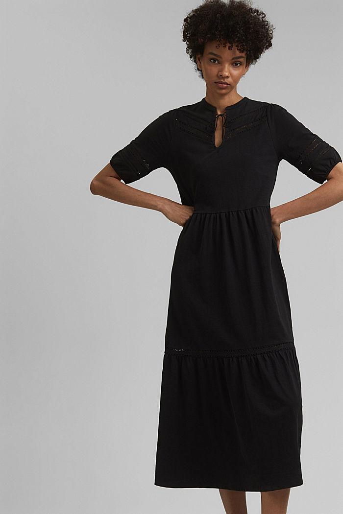 Jersey maxi dress, organic cotton, BLACK, detail image number 0