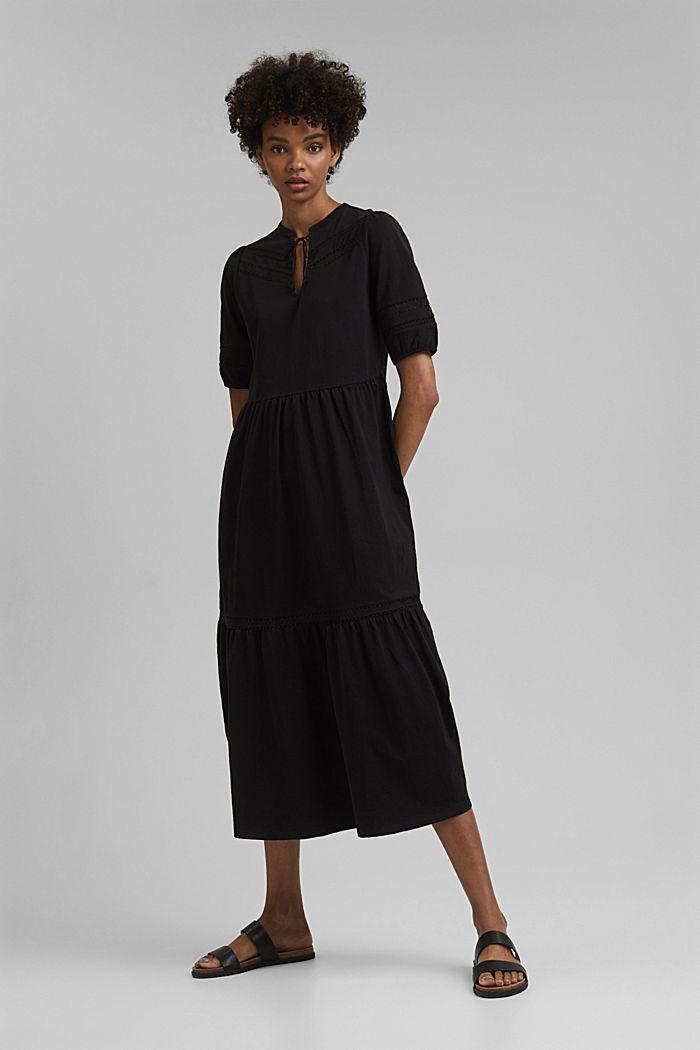 Jersey maxi dress, organic cotton, BLACK, detail image number 1