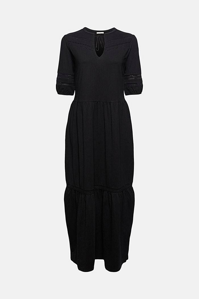 Jersey maxi dress, organic cotton, BLACK, detail image number 6