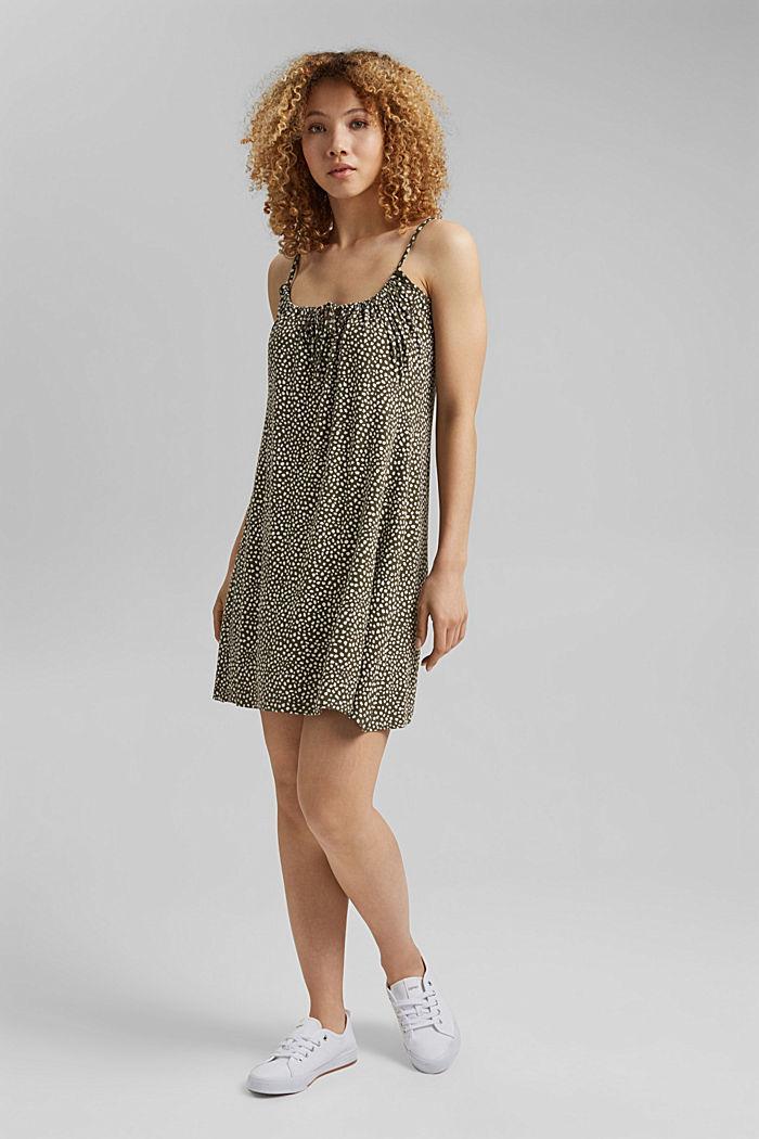 Jerseykleid mit Print, LENZING™ ECOVERO™, KHAKI GREEN, detail image number 1