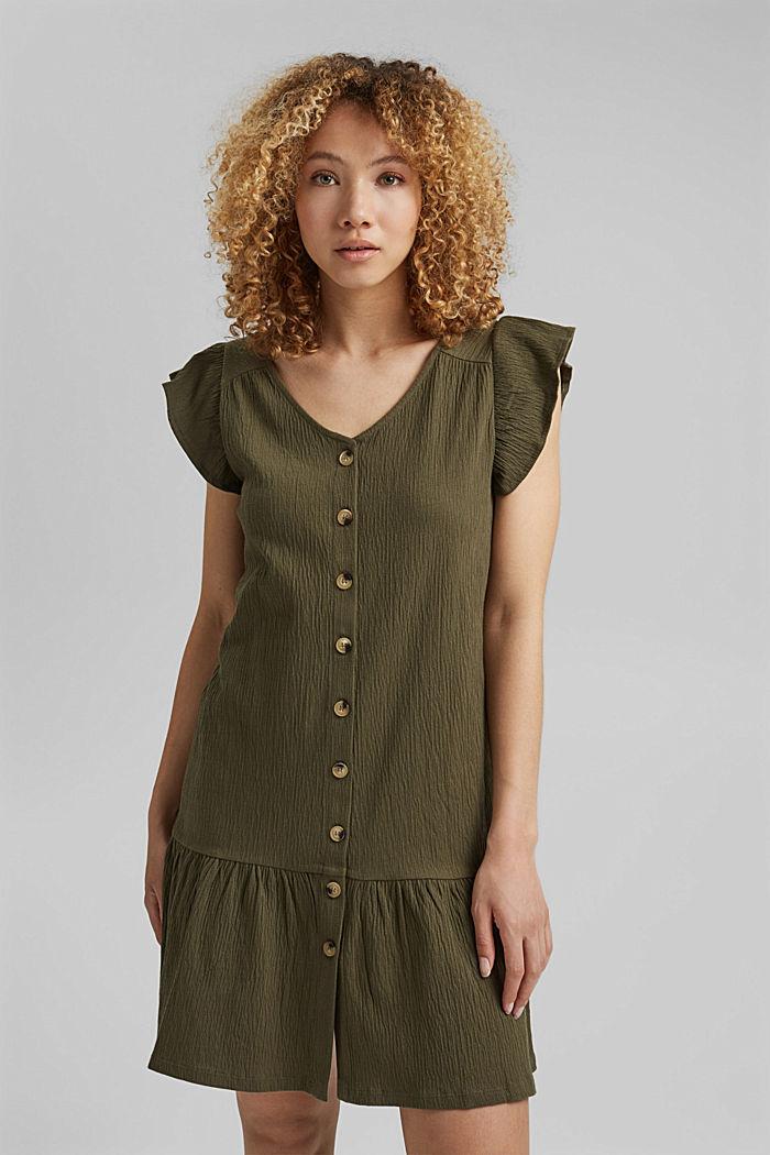 Sukienka z dżerseju z mieszanki bawełny ekologicznej, KHAKI GREEN, detail image number 0