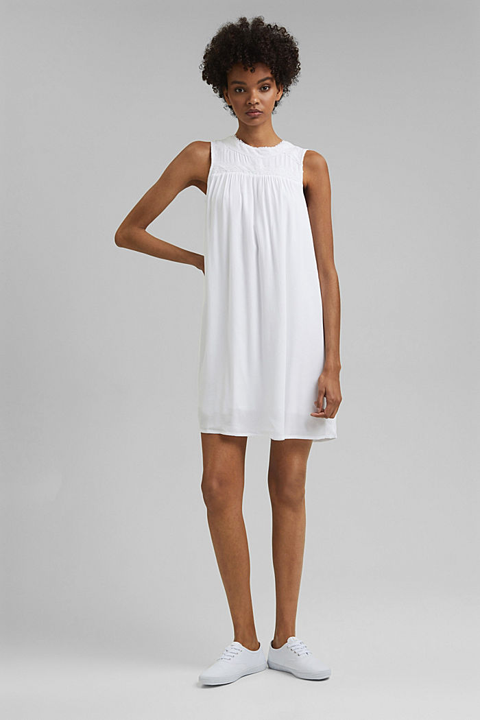 Petite robe ornée de dentelle crochetée, WHITE, detail image number 0