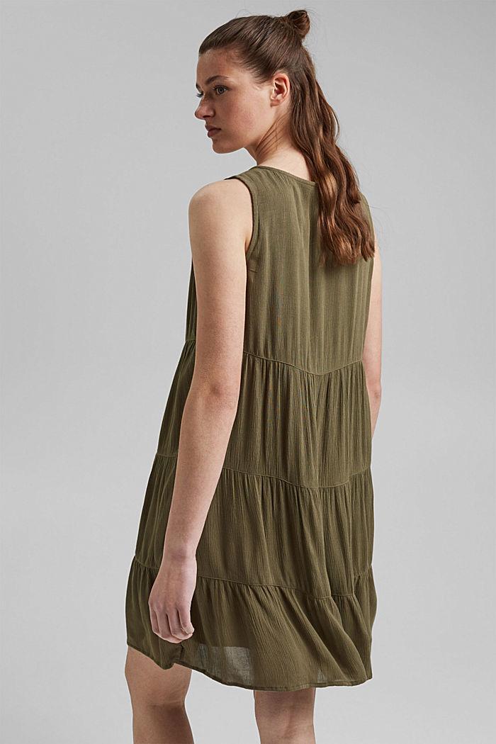 Volánové šaty z materiálu LENZING™ ECOVERO™, KHAKI GREEN, detail image number 2