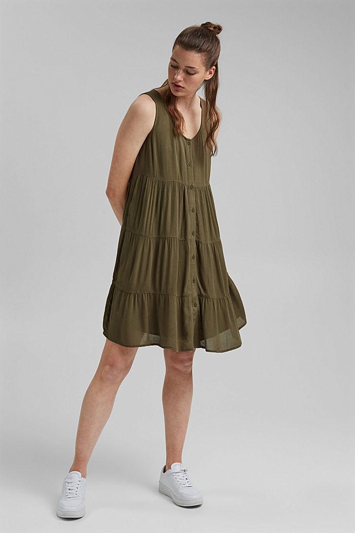 Volánové šaty z materiálu LENZING™ ECOVERO™, KHAKI GREEN, detail image number 1