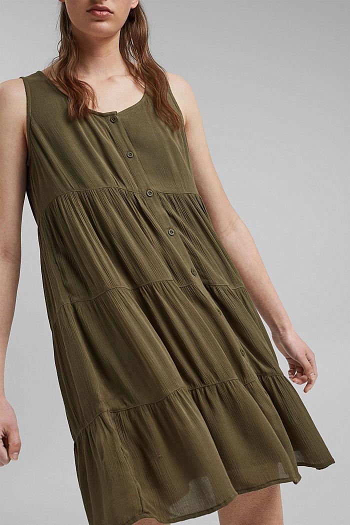 Volánové šaty z materiálu LENZING™ ECOVERO™, KHAKI GREEN, detail image number 3