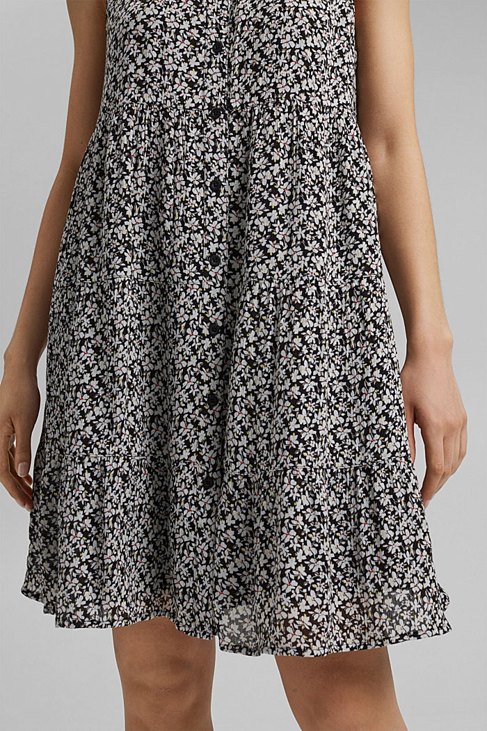 Printed tiered dress, LENZING™ ECOVERO™, BLACK, detail image number 6