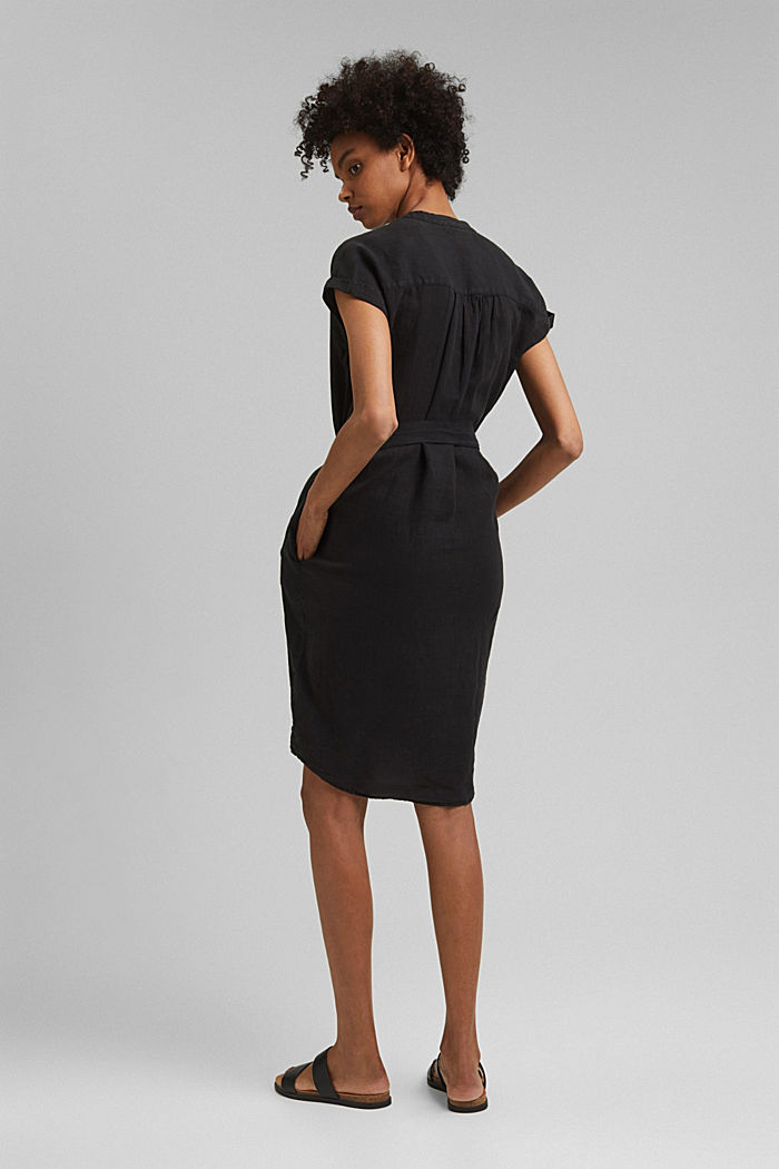 Made of linen: shirt dress with a belt, BLACK, detail image number 2