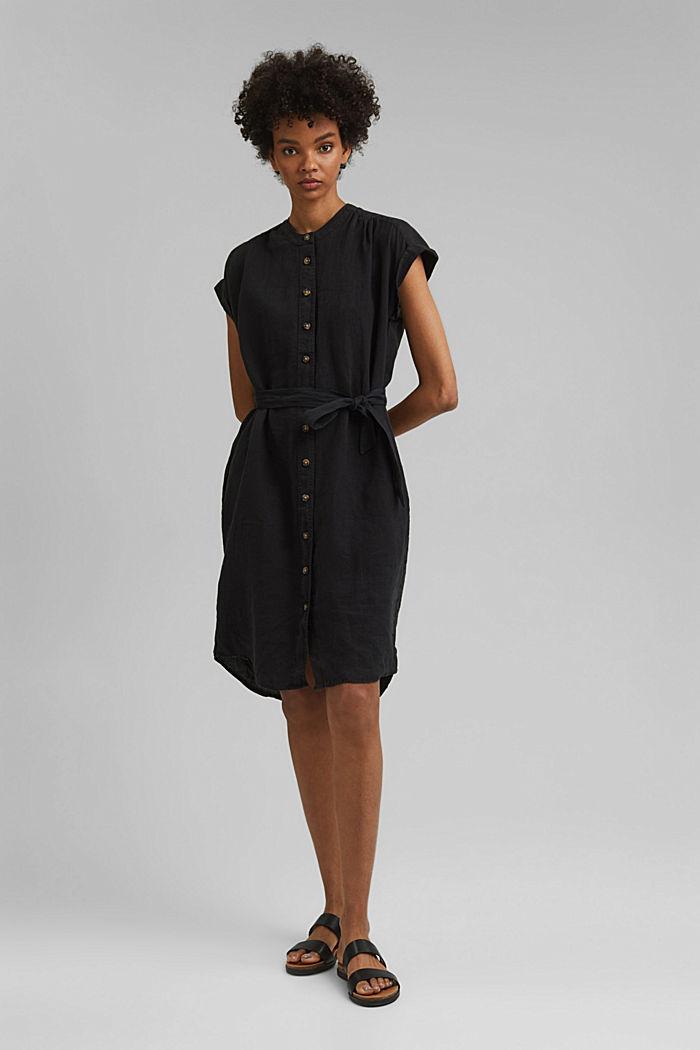 Made of linen: shirt dress with a belt, BLACK, detail image number 1