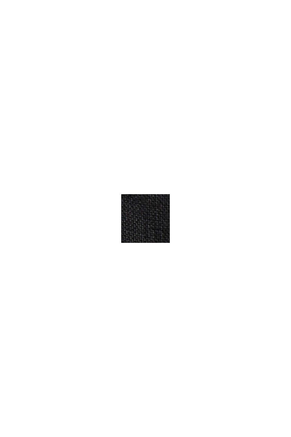 Aus Leinen: Hemdblusenkleid mit Gürtel, BLACK, swatch