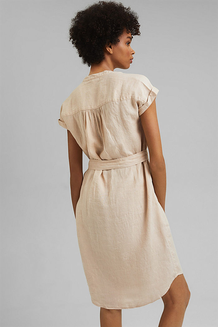 Made of linen: shirt dress with a belt, BEIGE, detail image number 2