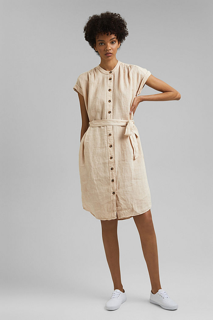 Made of linen: shirt dress with a belt, BEIGE, detail image number 1