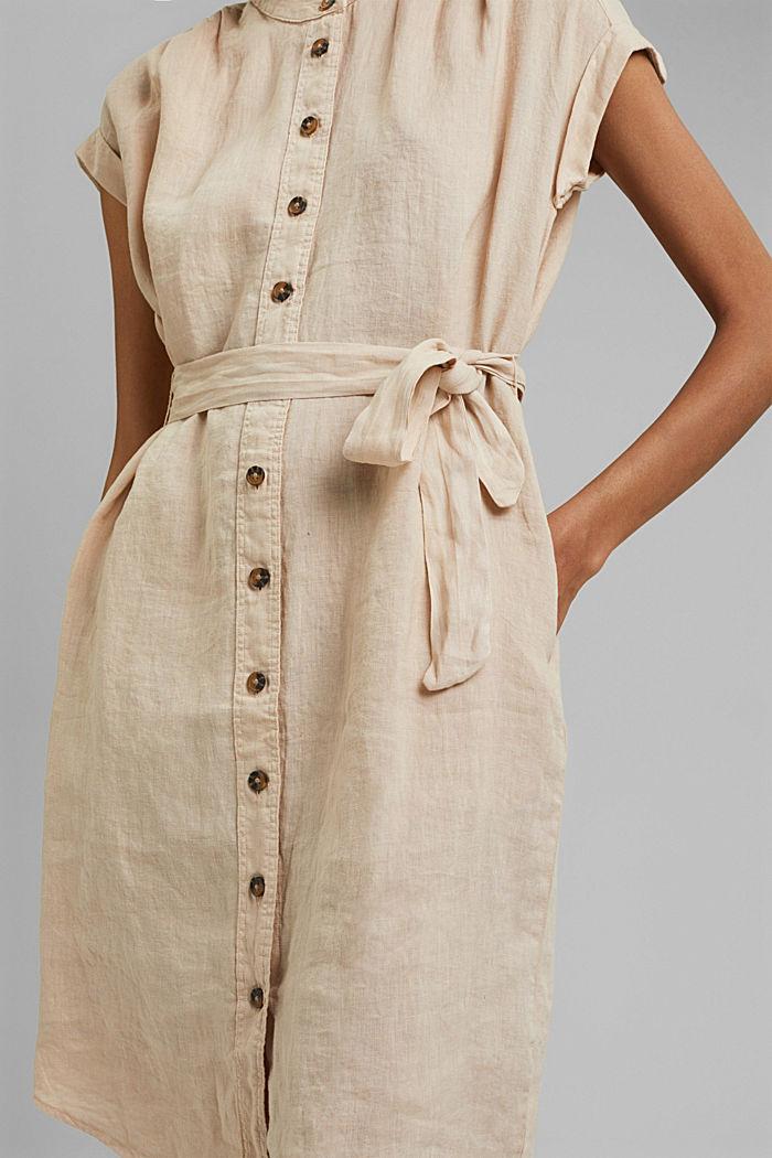 Made of linen: shirt dress with a belt, BEIGE, detail image number 3