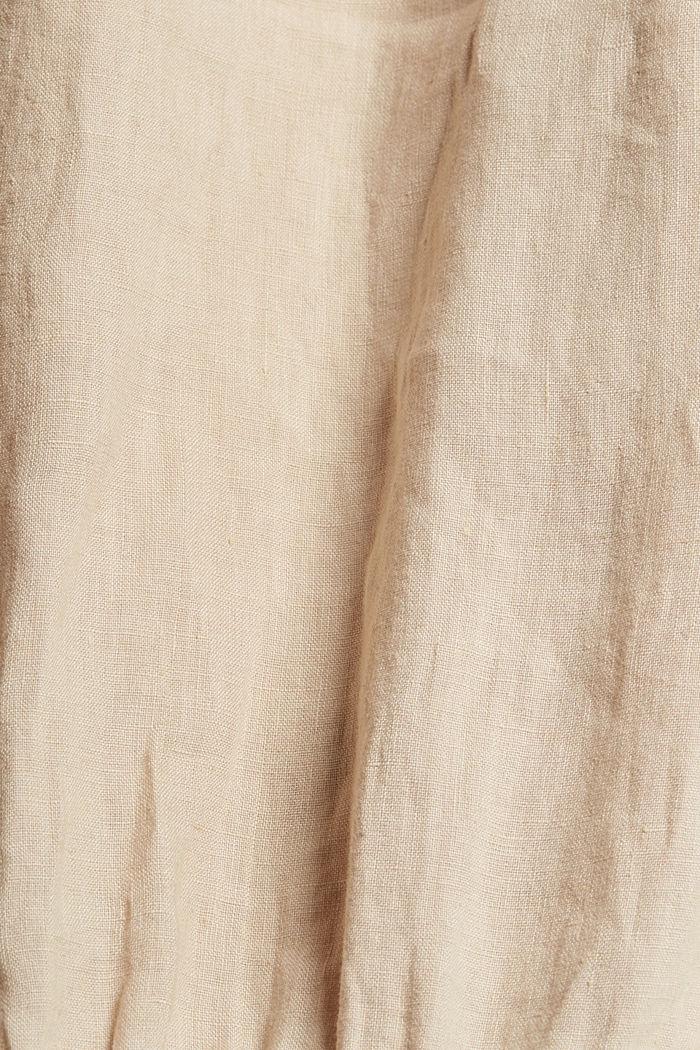 Made of linen: shirt dress with a belt, BEIGE, detail image number 4