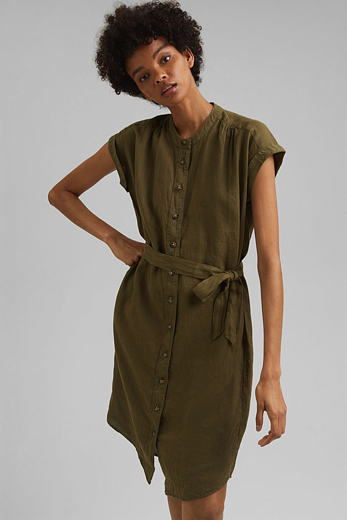 Aus Leinen: Hemdblusenkleid mit Gürtel