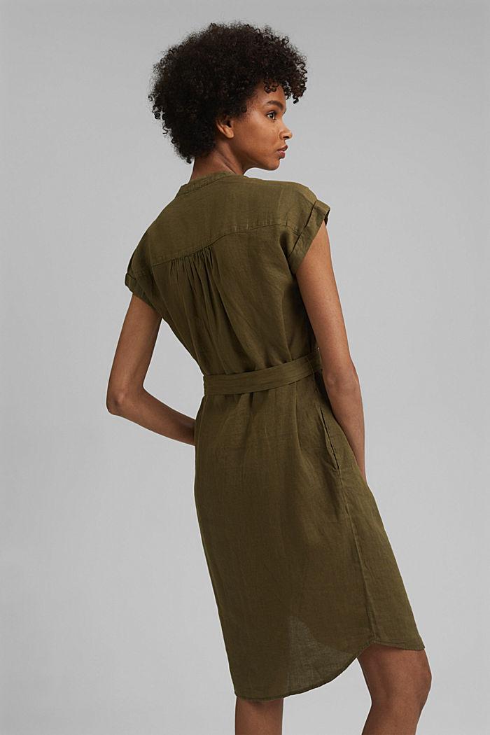 Made of linen: shirt dress with a belt, KHAKI GREEN, detail image number 2
