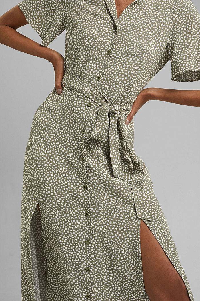 Blusenkleid mit Gürtel, LENZING™ ECOVERO™, LIGHT KHAKI, detail image number 3
