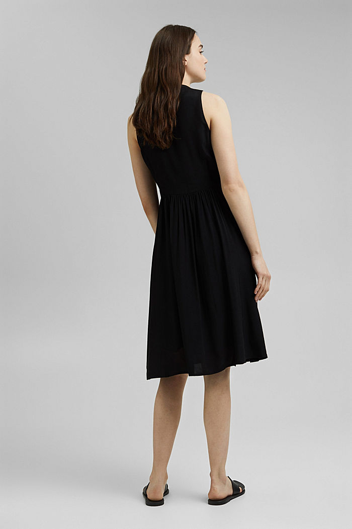 Sleeveless blouse dress made of pure viscose, BLACK, detail image number 2