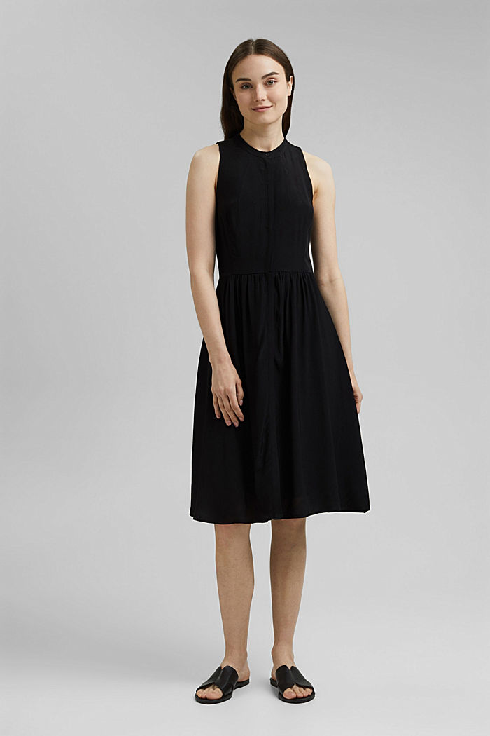 Sleeveless blouse dress made of pure viscose, BLACK, detail image number 1