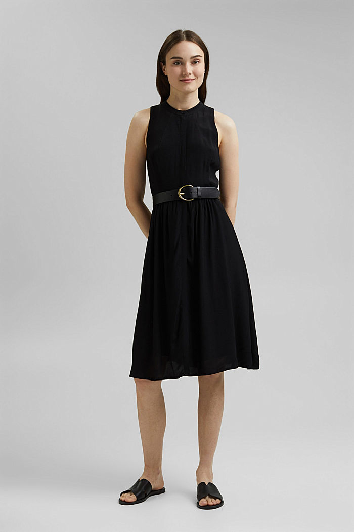 Sleeveless blouse dress made of pure viscose, BLACK, detail image number 6