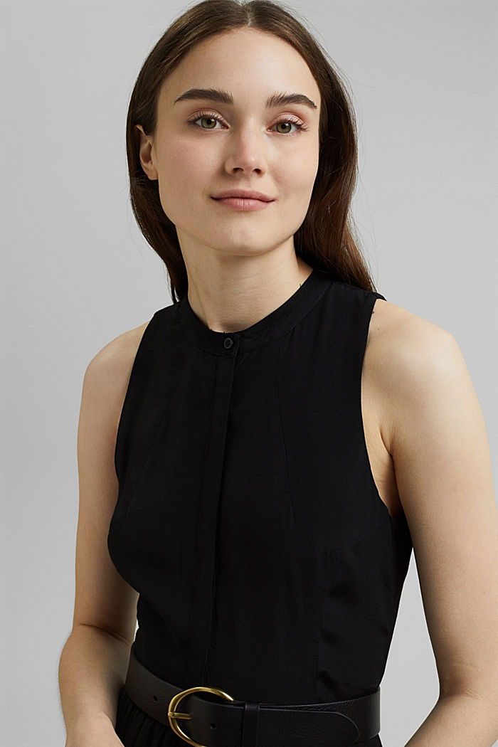 Sleeveless blouse dress made of pure viscose, BLACK, detail image number 5