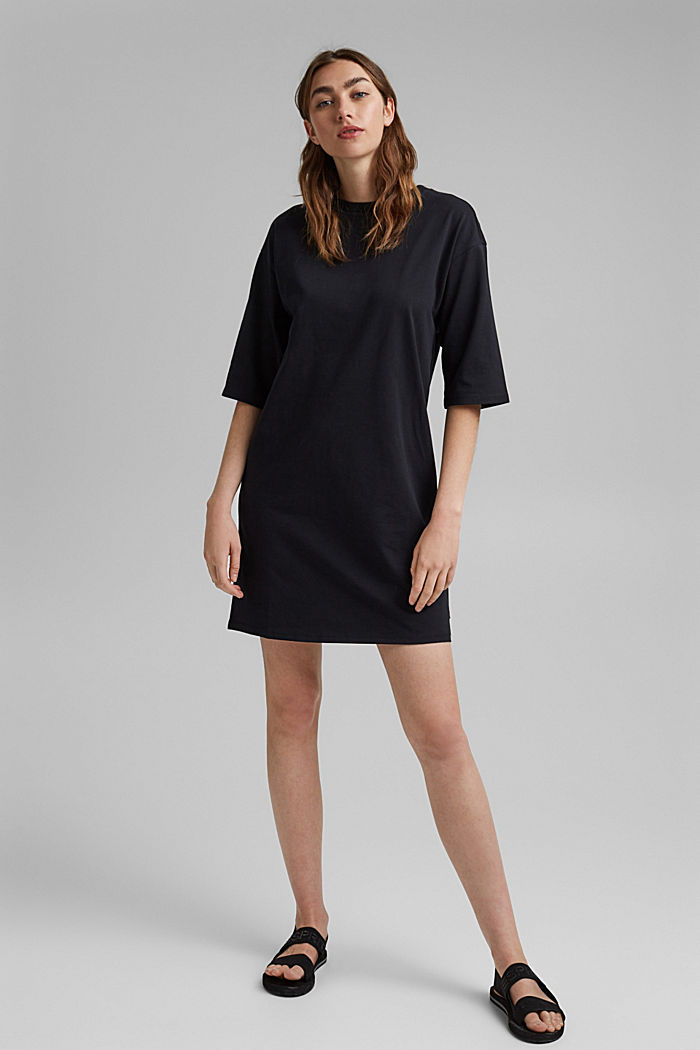 T-Shirt-Kleid aus 100% Organic Cotton, BLACK, detail image number 1