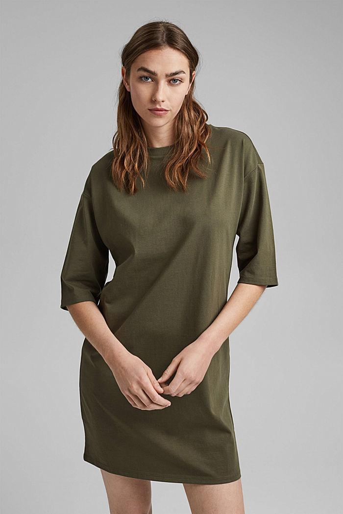 T-Shirt-Kleid aus 100% Organic Cotton, KHAKI GREEN, detail image number 0