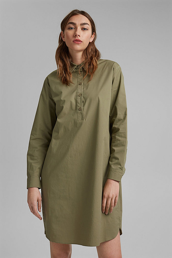 Kurzes Hemdblusenkleid aus Organic Cotton, LIGHT KHAKI, detail image number 0