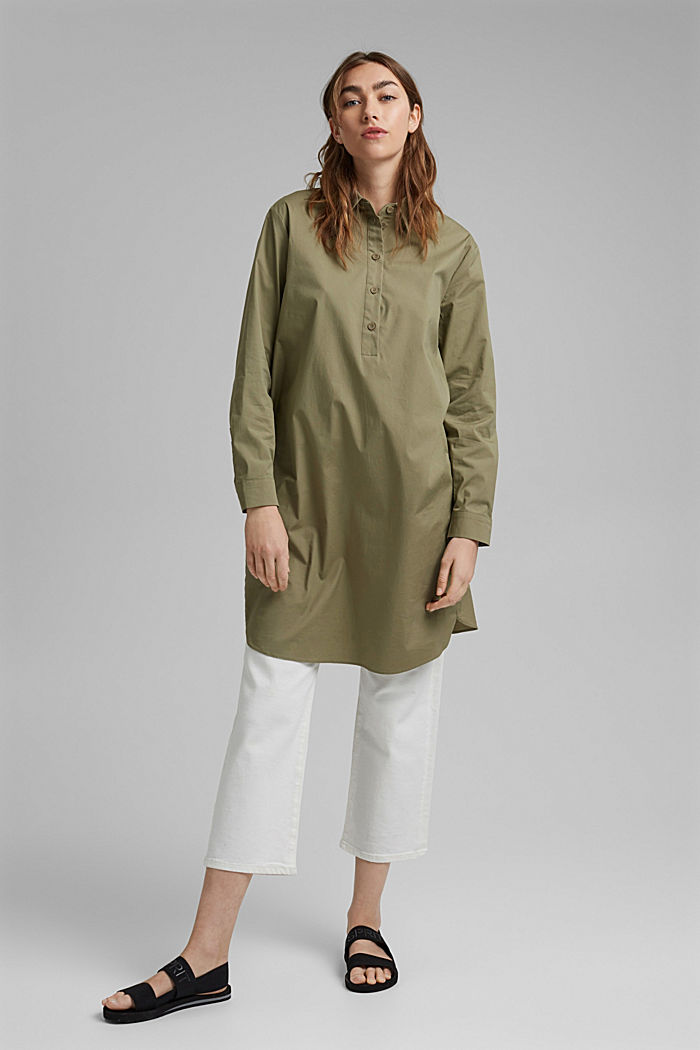 Kurzes Hemdblusenkleid aus Organic Cotton, LIGHT KHAKI, detail image number 1