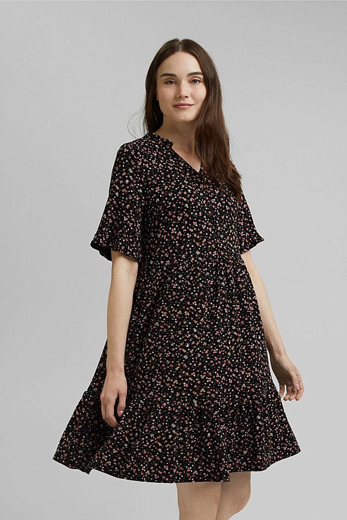 Jerseykleid mit Print und Volants
