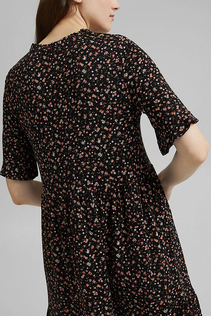 Jersey dress with a print and flounces, BLACK, detail image number 3